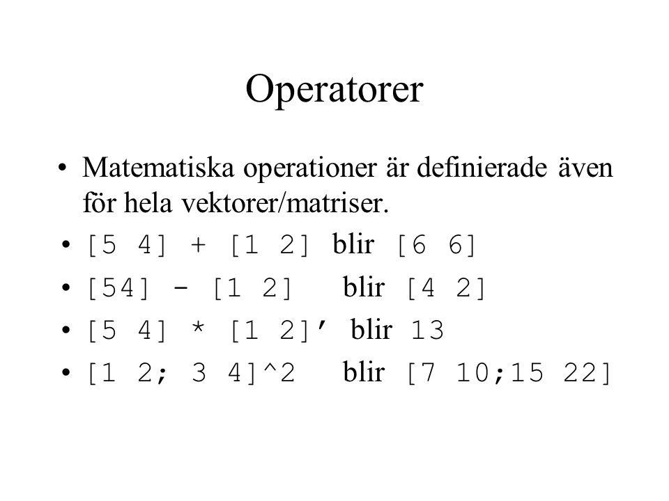 Operatorer Matematiska operationer är definierade även för hela vektorer/matriser. [5 4] + [1 2] blir [6 6]